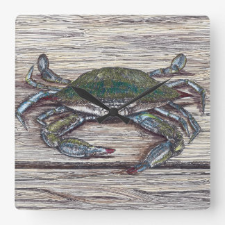 Blue Crab on Dock Square Wall Clock