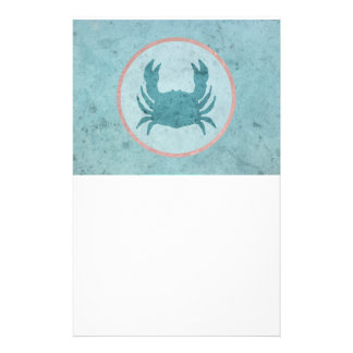 Blue Crab Pink Ring Stationery Paper