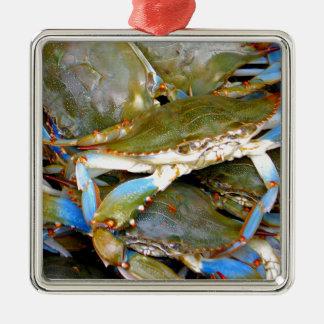 Blue Crab Silver-Colored Square Ornament