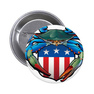Blue Crab USA Crest 2 Inch Round Button