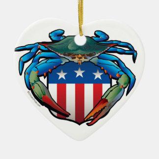 Blue Crab USA Crest Ceramic Heart Ornament