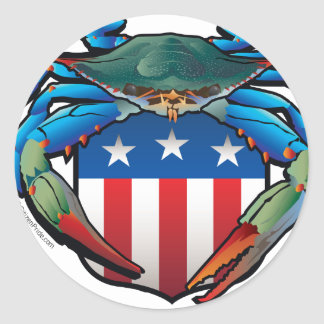 Blue Crab USA Crest Classic Round Sticker