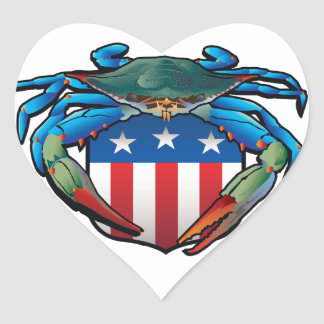 Blue Crab USA Crest Heart Sticker