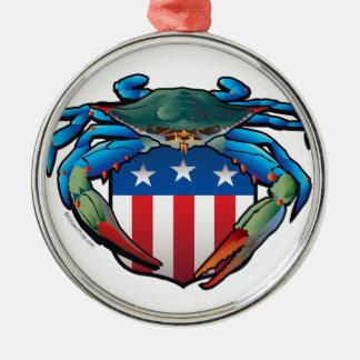 Blue Crab USA Crest Metal Ornament