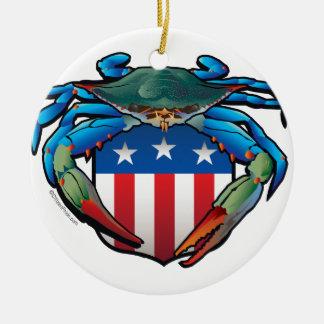 Blue Crab USA Crest Round Ceramic Ornament