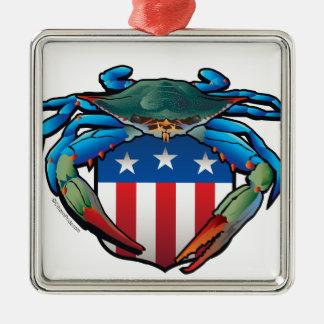 Blue Crab USA Crest Silver-Colored Square Ornament