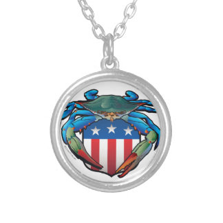 Blue Crab USA Crest Silver Plated Necklace