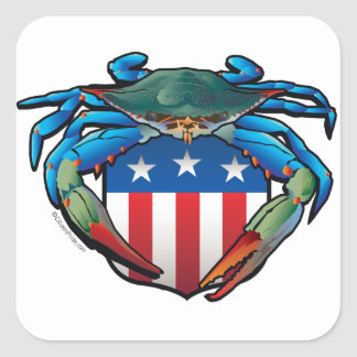 Blue Crab USA Crest Square Sticker