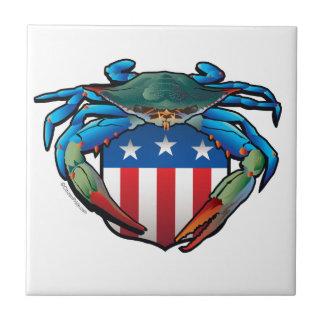 Blue Crab USA Crest Tile