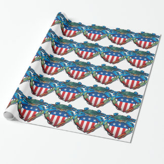 Blue Crab USA Crest Wrapping Paper