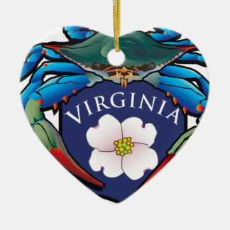 Blue Crab Virginia Dogwood Blossom Crest Ceramic Ornament