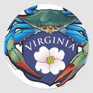 Blue Crab Virginia Dogwood Blossom Crest Classic Round Sticker