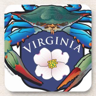 Blue Crab Virginia Dogwood Blossom Crest Coaster