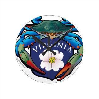 Blue Crab Virginia Dogwood Blossom Crest Round Clock