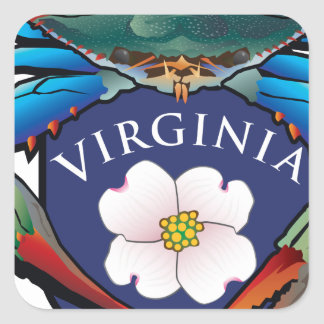 Blue Crab Virginia Dogwood Blossom Crest Square Sticker