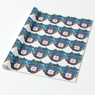 Blue Crab Virginia Dogwood Blossom Crest Wrapping Paper