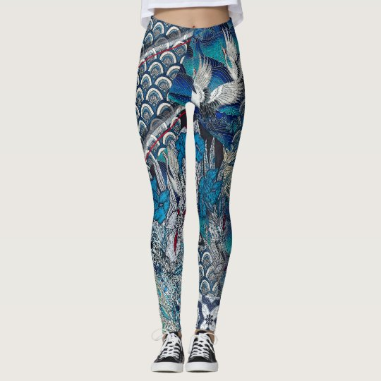 Blue Cranes Flying Over Flowers Leggings