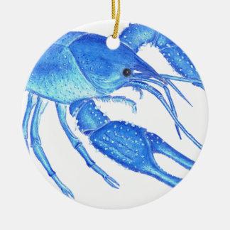 Blue Crawfish Ceramic Ornament