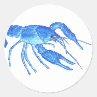 Blue Crawfish Classic Round Sticker
