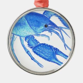 Blue Crawfish Metal Ornament