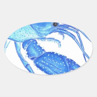 Blue Crawfish Oval Sticker