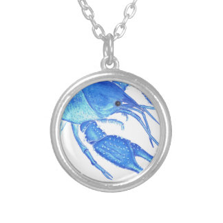 Blue Crawfish Silver Plated Necklace