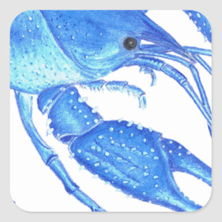 Blue Crawfish Square Sticker