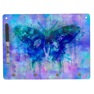 Blue Crazy Butterfly Dry Erase Board With Keychain Holder