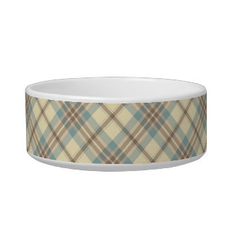 Blue, Cream, and Brown Plaid Cat Water Bowl