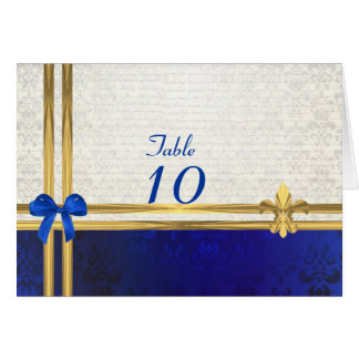 Blue & cream damask table number