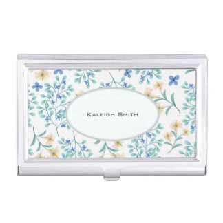 Blue Cream Floral on White Business Card Holder