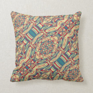 Blue Cream Vintage Abstract Pattern Throw Pillow