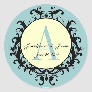 Blue Cream Wedding Monogram A Names Date Label Round Sticker