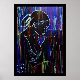 Blue Creole Rain Poster