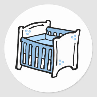 blue crib round sticker