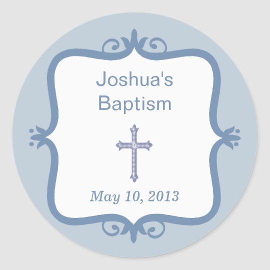 Blue Cross Baptism Round Sticker