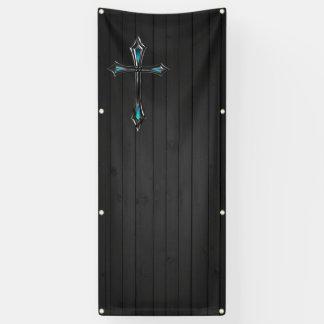 blue cross black plank blank church banner