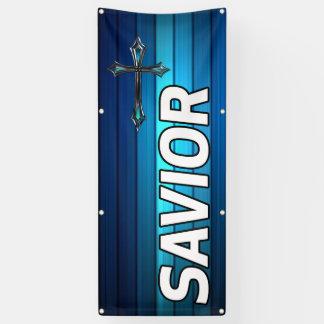 blue cross blue plank Savior church Banner