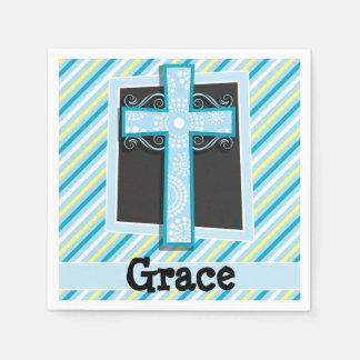 Blue Cross, Blue & Yellow Stripes Paper Napkins