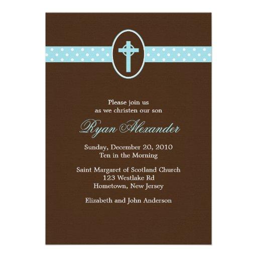 Blue Cross Christening Invitations