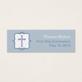 Blue Cross Communion Small Tag Mini Business Card