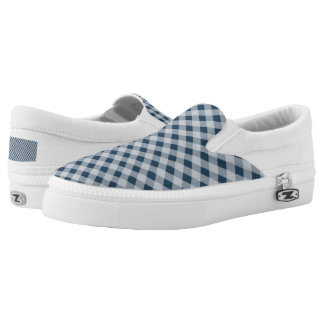 Blue cross-hatched Slip-On sneakers