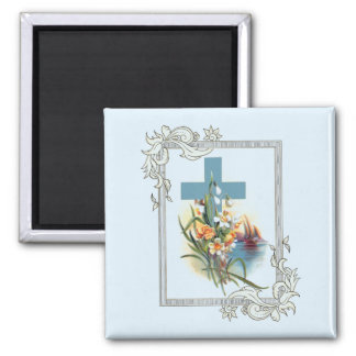 Blue Cross With Flowers And Boats Magnet