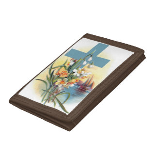 Blue Cross With Flowers Trifold Wallet