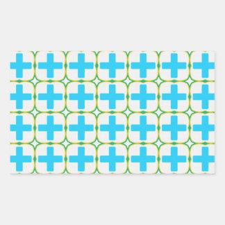 Blue Crosses Rectangle Sticker