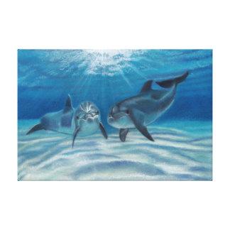 Blue Crush Dolphins Canvas Print
