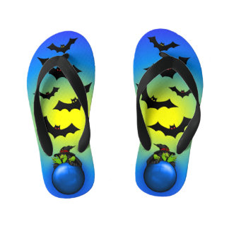 Blue Crystal Ball Witch and Bats Kid's Flip Flops