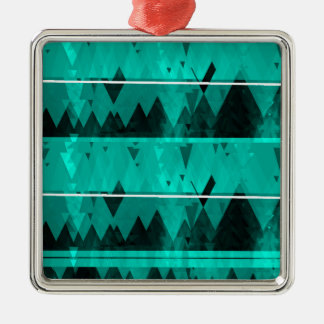 Blue Crystal Ice Mountain Pattern Silver-Colored Square Ornament