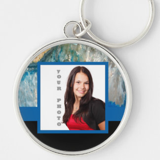 Blue crystal instagram template Silver-Colored round keychain