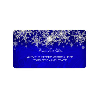 Blue Crystal Pearl Snowflake Silver Address Label